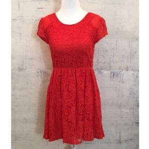 Urban Outfitters Red Lace Short Sleeve Mini Dress